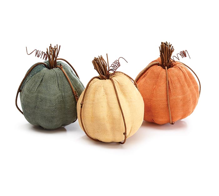 DECORATIVE PUMPKINS ORANGE/CREAM/GRAY