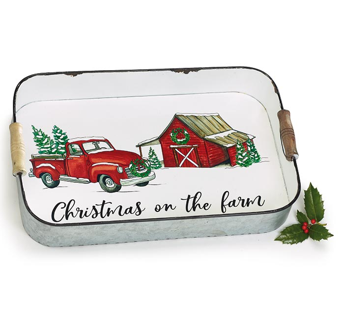 SNOW COVERED RED TRUCK  BARN TIN TRAY