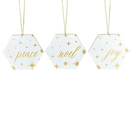 GOLD  WHITE WOOD MESSAGE ORNAMENT SET