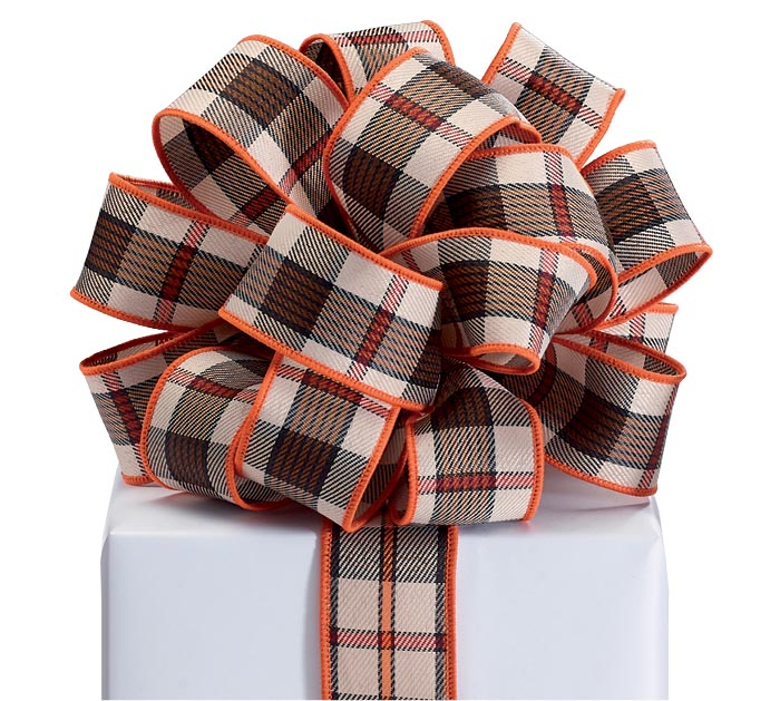 #9 BLACK AND ORANGE PLAID RIBBON