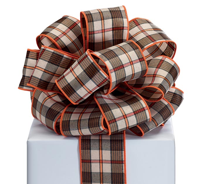 #40 BLACK AND ORANGE PLAID RIBBON