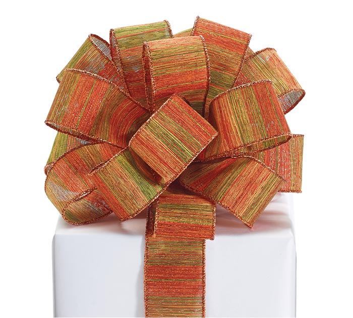 #9 ORANGE AND GREEN AUTUMN STRIPE RIBBON