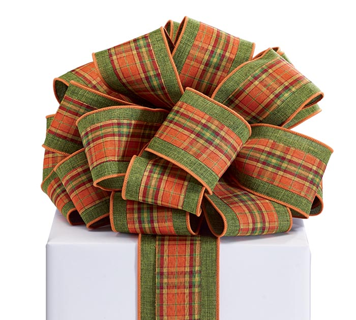#40 AUTUMN LAYERED PLAID ON GREEN RIBBON