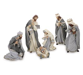 6 PC NATIVITY SET IN GRAY/IVORY COLOR