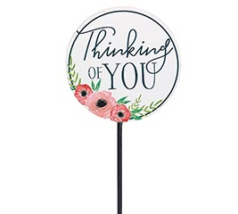 THINKING OF YOU WITH FLOWERS WOOD PICK