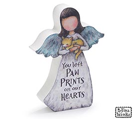 ANGEL HOLDING CAT FIGURINE