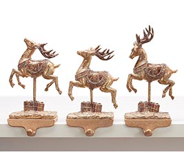GOLD ASSORTED DEER STOCKING HOLDERS