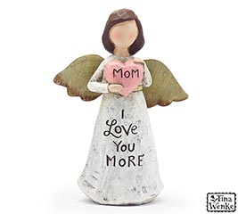 "ANGEL HOLDING ""MOM"" HEART FIGURINE"