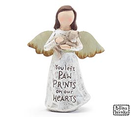 ANGEL HOLDING A DOG FIGURINE