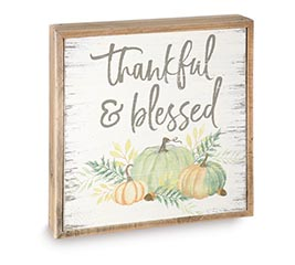 THANKFUL AND BLESSED PUMPKIN DECOR