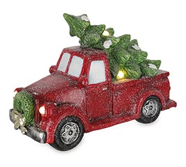 LIGHTED RED CHRISTMAS TRUCK DECOR