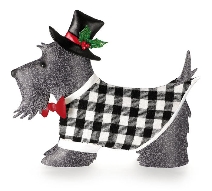 TIN GRAY SCOTTIE DOG DECOR