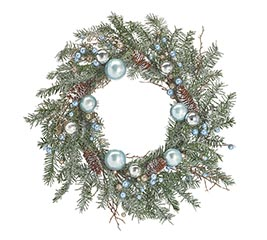 WREATH BLUE AND SILVER ORNAMENTS