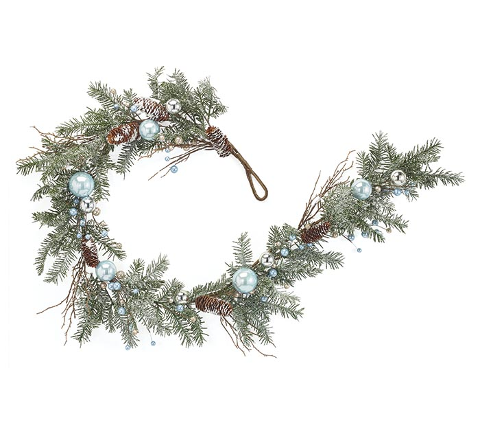 GARLAND WITH BLUE AND SILVER ORNAMENTS