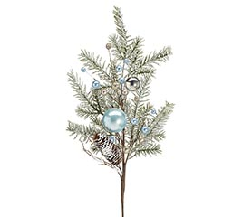 BLUE AND SILVER ORANAMENTS SNOWY PINE
