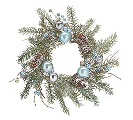 WREATH/CANDLERING BLUE AND SILVER ORNAMT