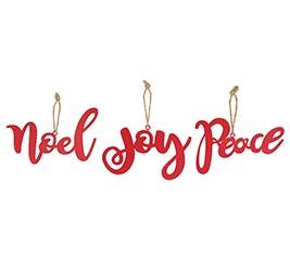 PEACE JOY NOEL TIN ORNAMENTS IN RED