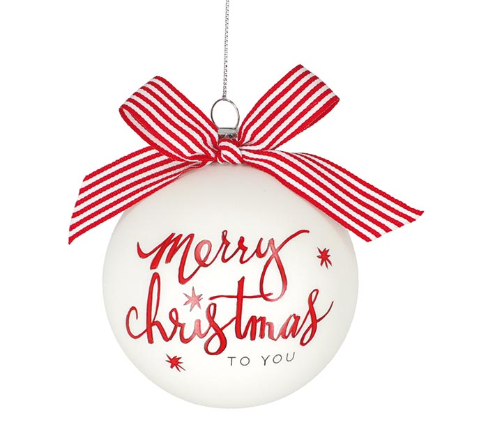GLASS MERRY CHRISTMAS TO YOU ORNAMENT