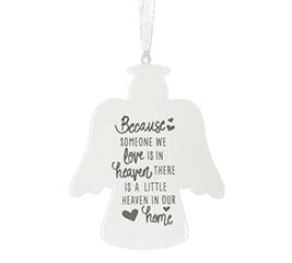 WHITE ANGEL SHAPE WITH MESSAGE ORNAMENT