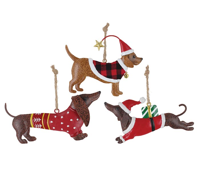 ASSORTED DOG SHAPE ORNAMENTS