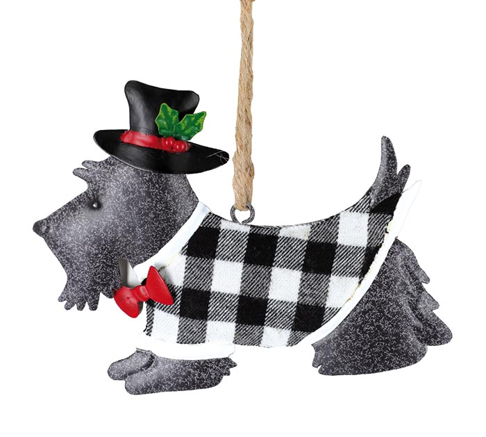 GRAY SCOTTIE DOG SHAPE ORNAMENT