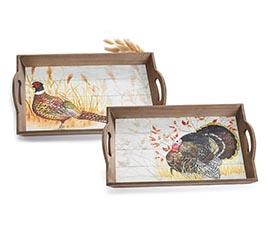 TURKEY  PHEASANT WOOD TRAY ASTD