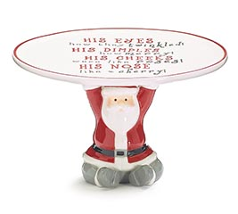 SANTA PEDESTAL COOKIE PLATE WITH MESSAGE