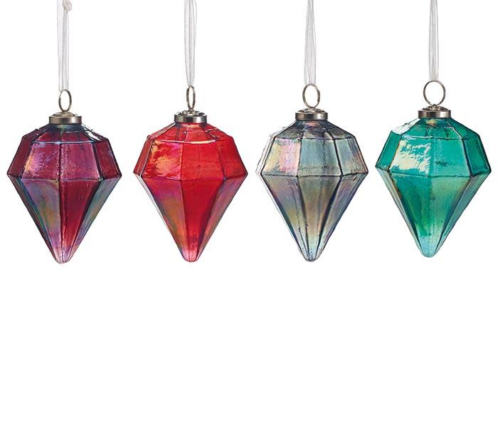 ASSORTED DIAMOND SHAPED GLASS ORNAMENTS