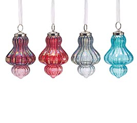ASSORTED FINIAL SHAPED GLASS ORNAMENTS