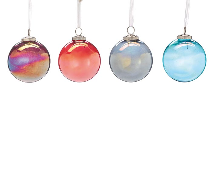 ASSORTED ROUND SHAPED GLASS ORNAMENTS