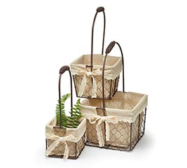 CHICKEN WIRE SQUARE NESTED BASKET SET