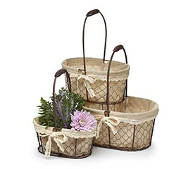 CHICKEN WIRE OVAL NESTED BASKET SET