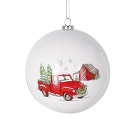 RED TRUCK AND BARN MERRY CHRISTMAS