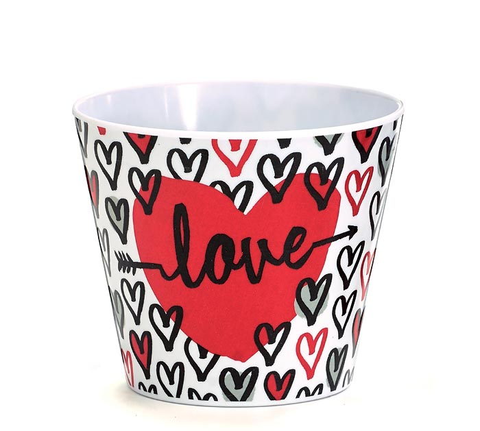 "4"" LOVE WITH HEARTS MELAMINE POT COVER"