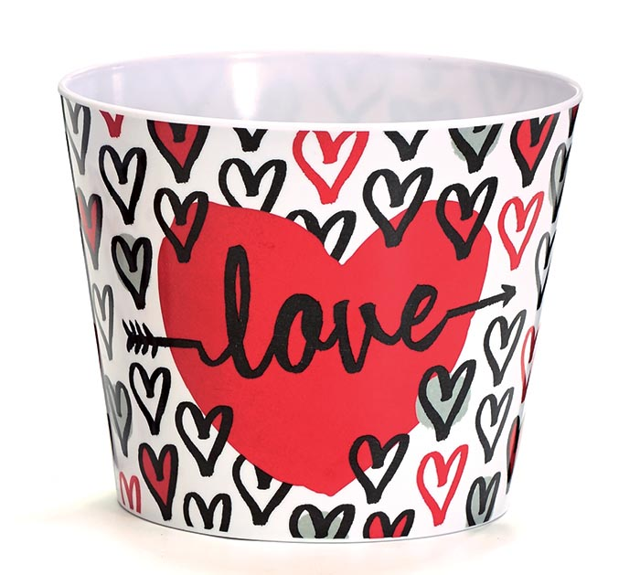 "6"" LOVE WITH HEARTS MELAMINE POT COVER"