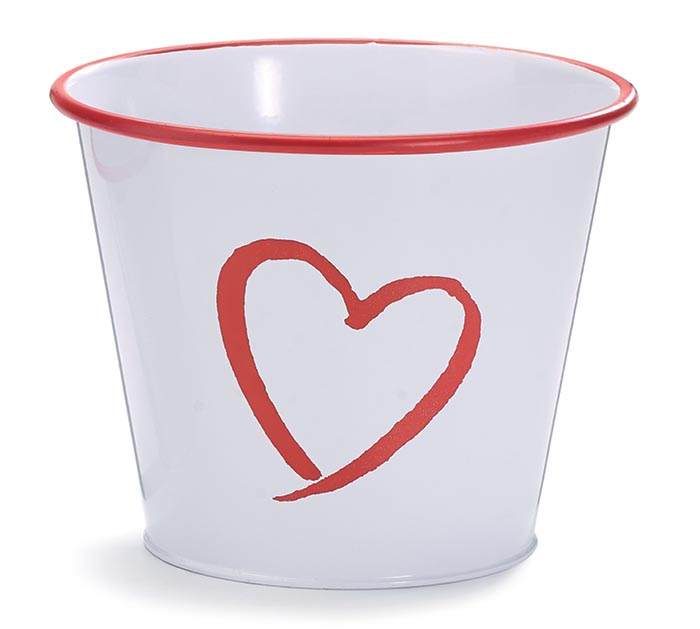 """6"""" TIN POT COVER WITH OPEN RED HEART"""