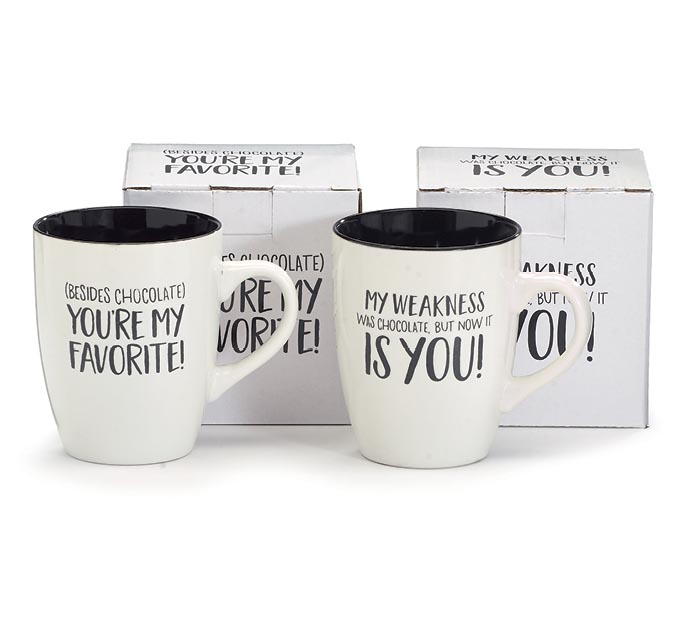 ASSORTED MUGS WITH CHOCOLATE MESSAGES