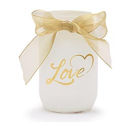 QUART MASON JAR VALENTINE LOVE IN GOLD