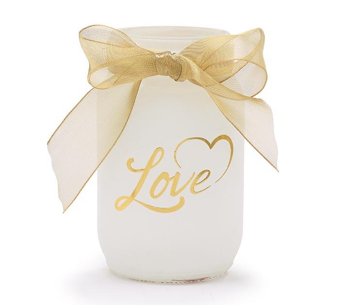 QUART MASON JAR VALENTINE LOVE IN GOLD