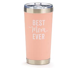 PEACH STAINLESS TUMBLER BEST MOM EVER
