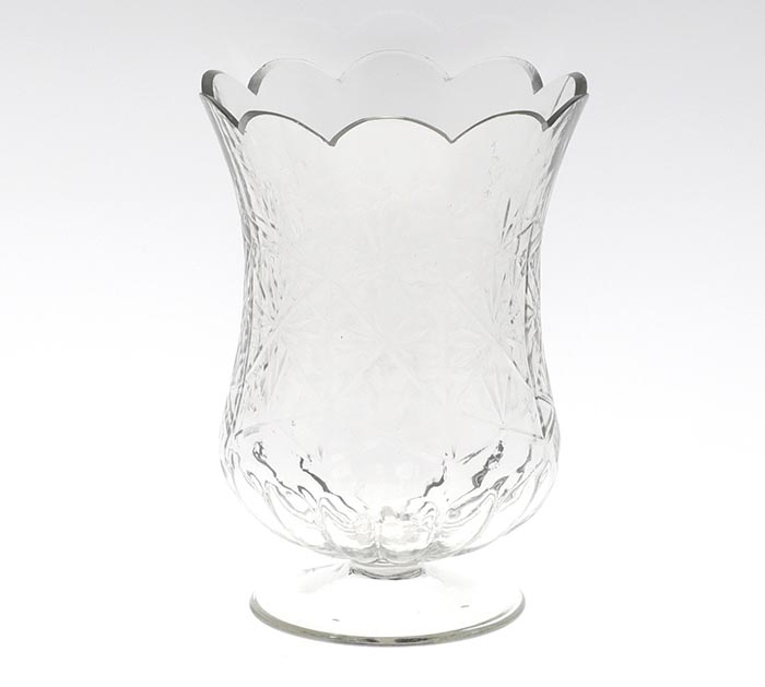 "7.5"" CLEAR GLASS VASE ON PEDESTAL"