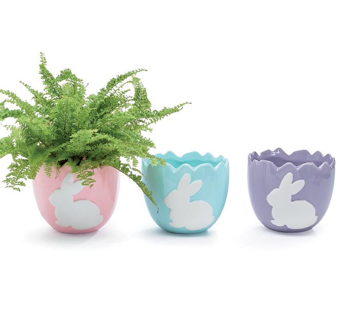 WHITE BUNNY ON SOLID BACKGROUND PLANTER
