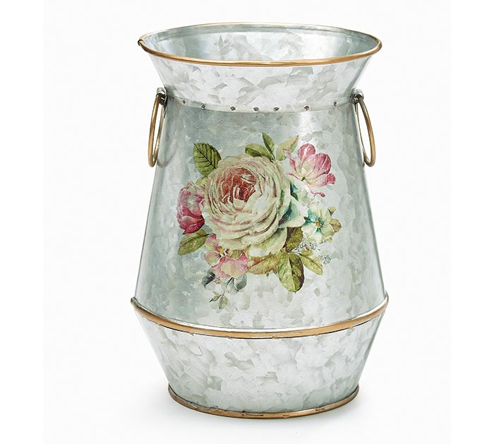 TIN VASE WITH ROSE DESIGN  GOLD ACCENTS