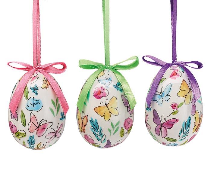 Paper Mache Butterfly Egg Ornament Astd