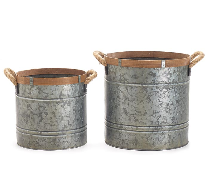 NESTED TIN PLANTER SET WITH WOOD TRIM
