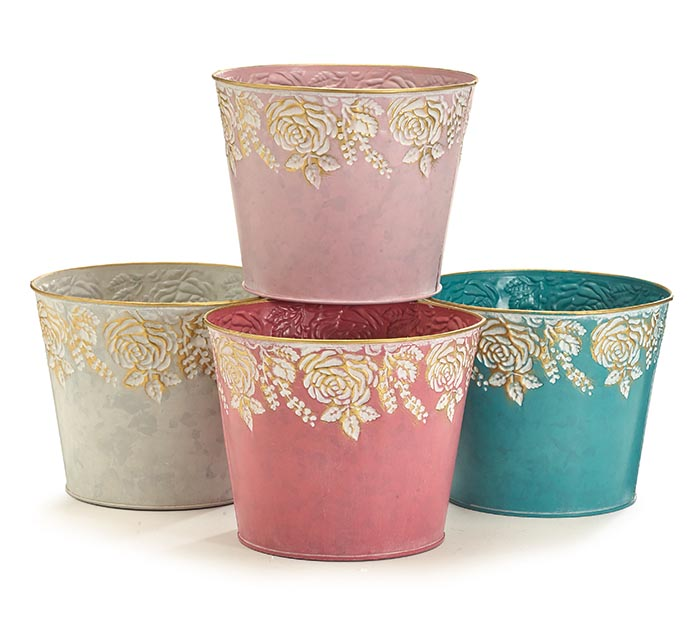 EMBOSSED ROSE POT COVERS WITH GOLD TRIM