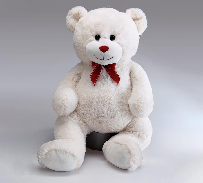 "26"" WHITE BEAR WITH RED RIBBON BOW"