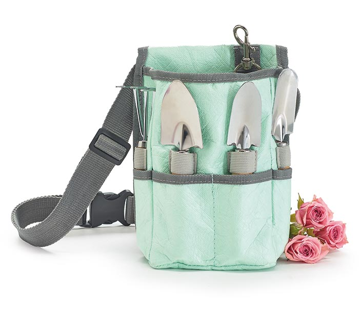 GARDEN TOOL SET CROSSBODY PINK/MINT
