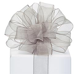 #9 RIBBON SHEER PEWTER WITH WIRED EDGE