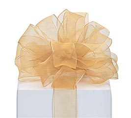 RIBBON #9 SHEER GOLD WIRED EDGE